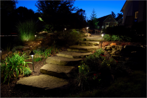 Outdoor path landscape lighting in Temecula,CA.
